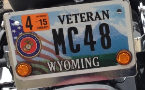 Wyoming veterans license plate cropped